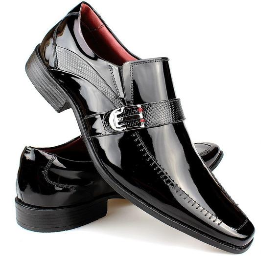 Sapato Social Masculino Em Couro Verniz Sofisticado Brilho
