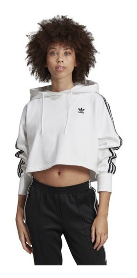 Sudadera adidas Originals Blanca Corte Cropped Con Gorro Ch