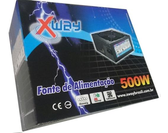 Fonte Pc Atx 500w Potencia Real Gamer Silenciosa 24p Pcie 6p