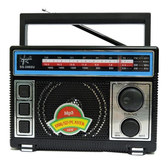 Rádio Am Fm Sw Usb Cartão Sd C/cabo Recarregável Ótimo Sinal
