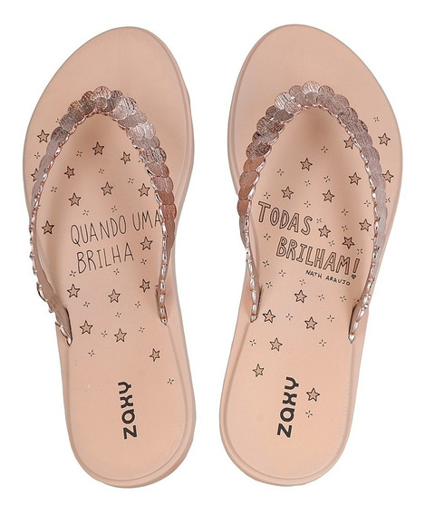 Chinelo Feminino Sandalia Rasteira Shine On Zaxy 17657