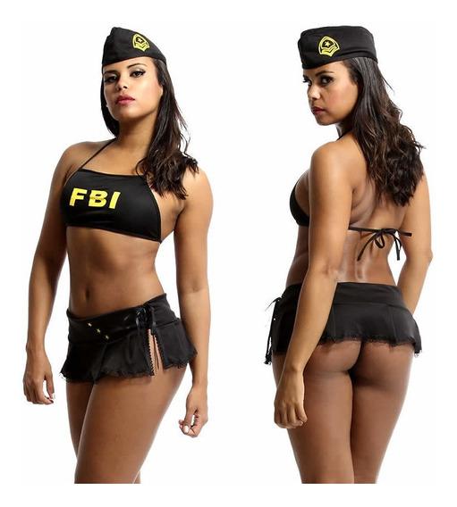 Fantasia Erótica Policial Sexy Fbi De Mini Saia E Boina