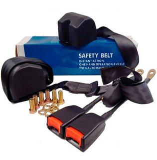 Par Cinturones Seguridad Universal 3 Puntos Negro Retractil