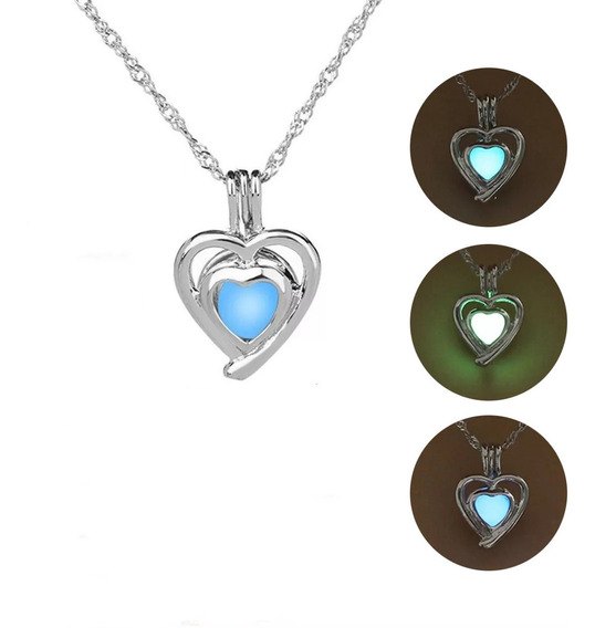 Collar Corazón Brilla Oscuridad + Caja + Envío Gratis