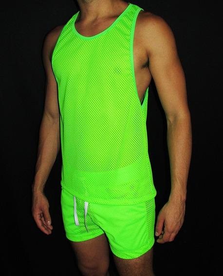 Conjunto Transparente Tela Verde Regata E Shorts