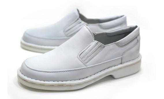 Sapato Couro Social Branco Dentista Medico Especial Até 47