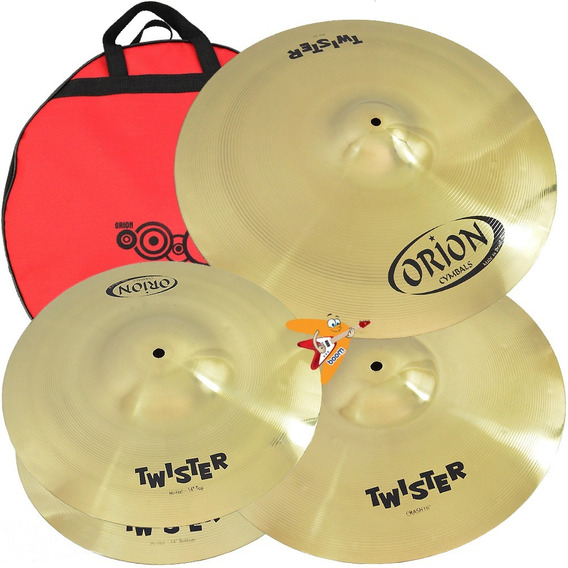 Kit Set Pratos Orion Twister Twr90 14/16/20 Bateria C/ Bag