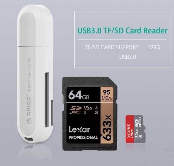 Cartão Memória Sd 64gb Original 633x V30 4k + Leitor 3.0