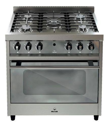 Imagen 1 de 1 de Cocina Morelli Zafira 900 a gas/eléctrica 5 hornallas  plateada 220V puerta  con visor