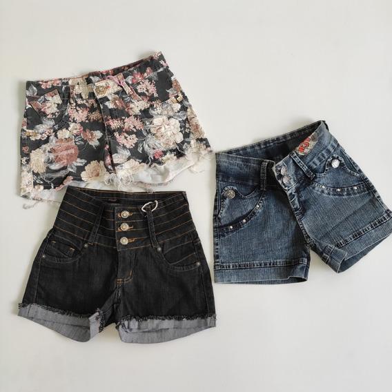 3 Lindos Shorts Jeans Infantis Tamanho 14 Diversos Modelos