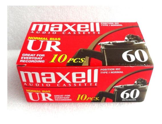 Caixa C/10 Unidades Fita K7 Maxell Ur-60 Novas ( Lacradas )
