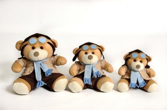 Trio De Ursinho Para Nicho Quarto Bebe Aviador Azul Claro