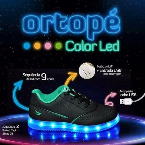 Tênis Ortopé Color Led Azul Original - Últimas Unidades