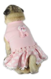 Vestido De Cachorro/ Gato Inverno Frio Ursinho Rosa