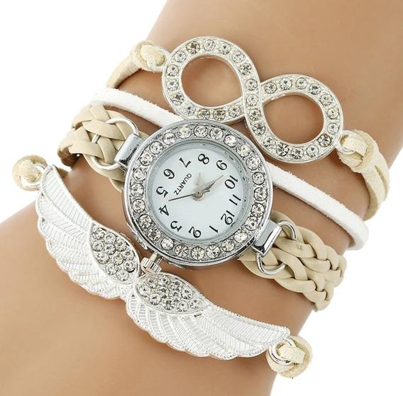 Relógio Anjo Eterno Com Strass Bege Luxo - Envio Imediato