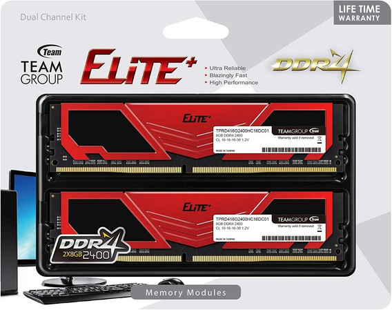 Teamgroup Elite Plus Ddr4 16gb Kit (2x8gb) 2400mhz Pc4-19200