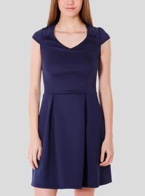 Vestido Plizado Io Azul Marino