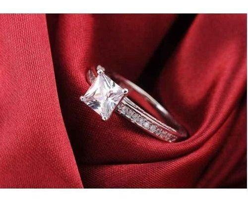 Anel De Noivado Princesa Em Prata 925 Com Pedra Zircão