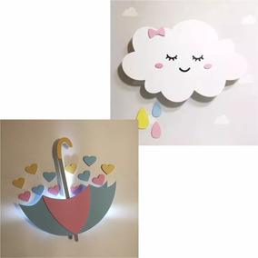 Kit 1 Nuvem Com Rostinho + 1 Guarda Chuva De Amor Com Led