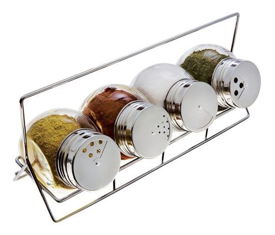 Jogo 4 Potes Porta Condimentos Vidro C/ Suporte Euro Bubble Temperos Aço Inox Tampas 3 Tipo Aberturas Dosadores Cozinha