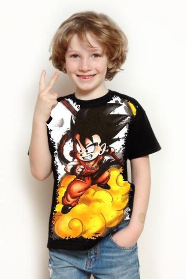 Camiseta Infantil Full Print Dragon Ball Goku Nuvem Voadora