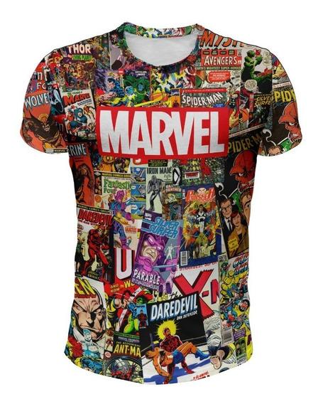 Remera Marvel (fondo Historietas De Color)
