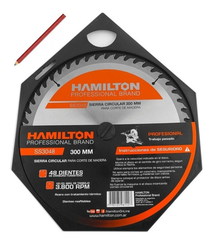 Disco Hoja Sierra Circular Madera 300mm 48d Hamilton +regalo