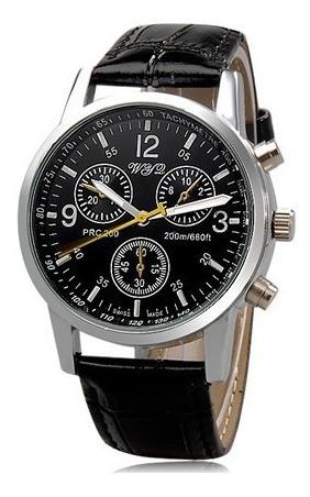 8077 Relógio Masculino Com Pulseira De Coura Quartzo