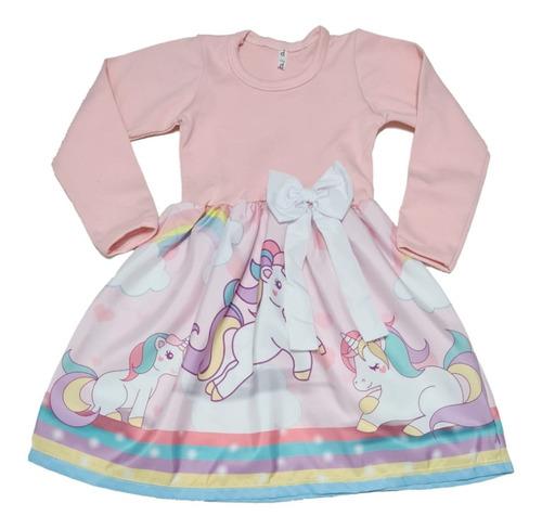 Imagem 1 de 5 de Vestido Infantil Unicornio Manga Longa Inverno Fab2