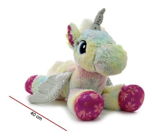 Peluche Unicornio Jaspeado Echado Mueve Alas 7959 Edu