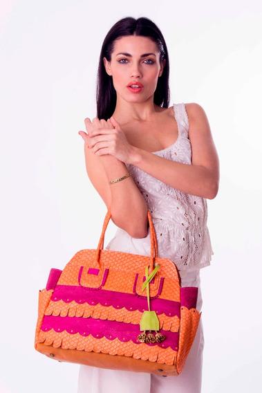Carteras Mujer Rigida Cuero Vacuno Naranja Fucsia De Diseño