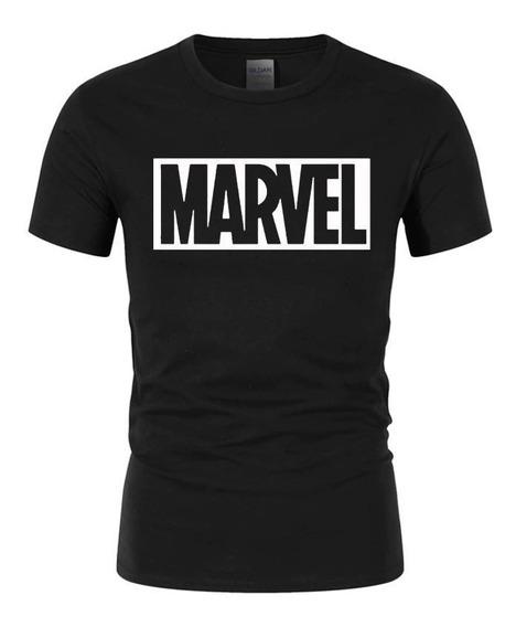 Camiseta Marvel Masculina Feminina Preta Branca