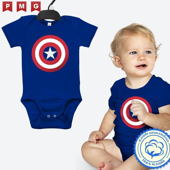 Body Capitão América Bebê Fantasia Festa Vingadores Infantil