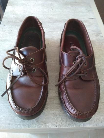 Zapatos Mocasines Legacy Con Cordón Talle 42 Marrón Impecabl