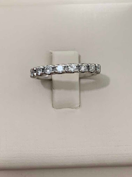 Antiga Meia Aliança Em Paládio Com 8 Diamantes De 5 Pontos