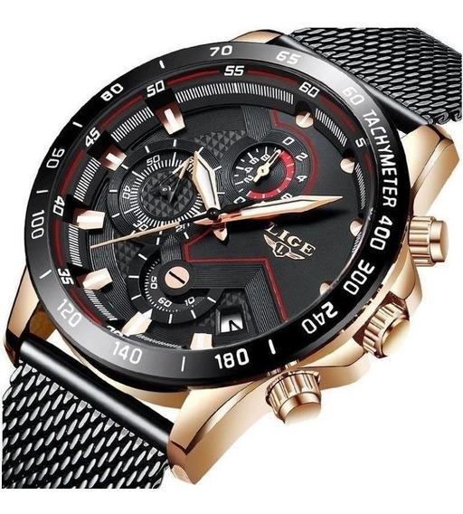 Relógio Masculinol Lige Original 9929 Funcional Luxo+ Caixa