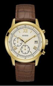 Relógio Guess Masculino Couro Dourado 92680gpgddc4