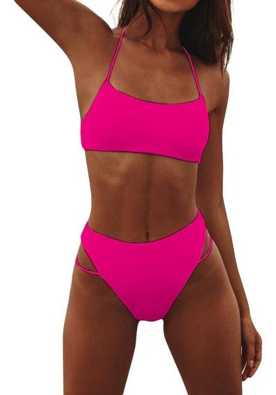 Traje De Baño Bikini Cintura Alta Top Sexy Rosa Negro