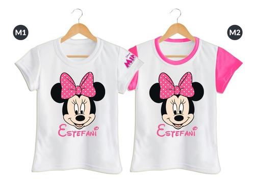 Camiseta Set 4 Papa Mama Hija Minnie Mouse Personalizada