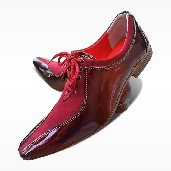 Sapato Social Couro - Bordô Verniz/veludo (ref.510) Premium
