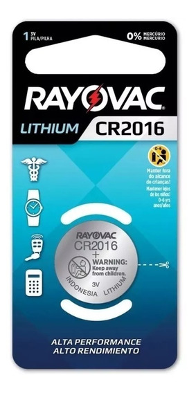 6pç Bateria Pilha Botao Cr2016 Rayovac 3v Lithium