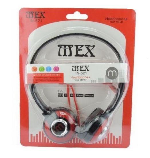 1 Mex Style 521 P/ Celular Mp3 Headfone Rádio Fone De Ouvido