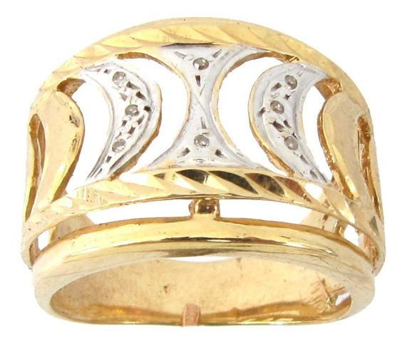 7126 Anel De Ouro 18k 750 Com Diamantes