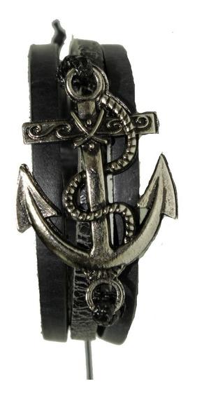 Pulseira Masculina Couro Preta Pingente Ancora Navy Prateada