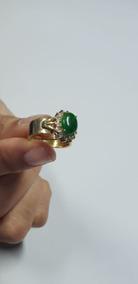 Anel De Ouro Em Brilhante Com Pedra De Jade