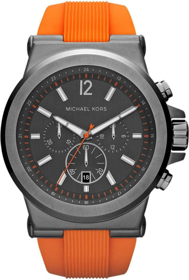 Relógio Michael Kors Mk8296 Laranja Pulseira Borracha