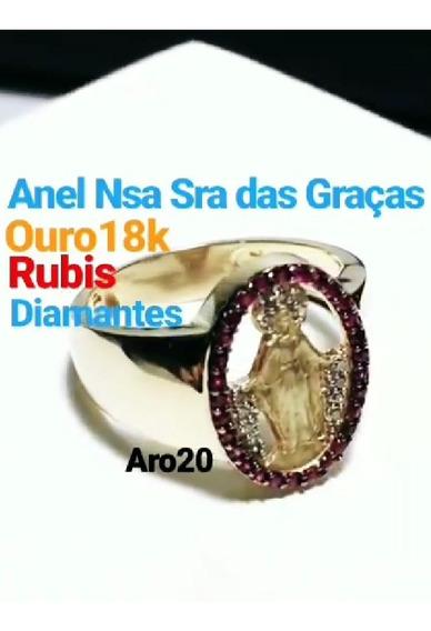 Anel Ouro 18k 750 Nossa Senhora Das Graças Rubis Diamantes