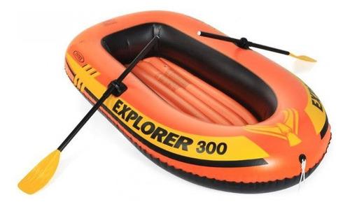 Bote Inflável Intex Explorer 300 Com Remos 211cm Até 186kg