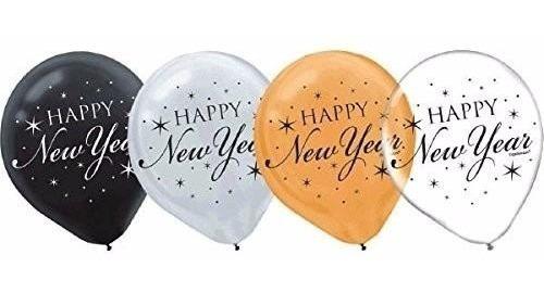 Imagen 1 de 3 de Paquete De 15 Globos Feliz Año Nuevo. Amscan