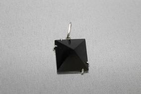 Pingente Pirâmide De Obsidiana Negra Na Prata